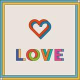Tipografía del amor Logotipo creativo del amor Corazones de entrelazamiento Anillos de entrelazamiento stock de ilustración