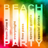 Tipografía del cartel o del aviador del diseño del partido del verano Imagen de archivo libre de regalías