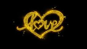 Tipografía del corazón de día de San Valentín del amor escrita con los fuegos artificiales de oro de las chispas de las partícula stock de ilustración