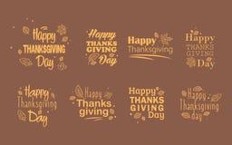 Tipografía del día de la acción de gracias Hojas de otoño del vector Fondo feliz dibujado mano del día de la acción de gracias Foto de archivo