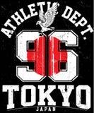 Tipografía del deporte atlético de Tokio, gráficos de la camiseta, vectores stock de ilustración
