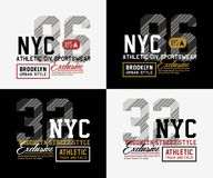 Tipografía del deporte atlético NYC Brooklyn para la impresión de la camiseta Fotos de archivo