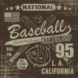 Tipografía del deporte del béisbol, liga del este Los Ángeles, bosquejo de los gráficos cruzados del diseño de la impresión de la stock de ilustración