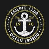 Tipografía del grunge del club de la navegación para la ropa del diseño, las camisetas con el ancla y la cuerda Gráficos del vint libre illustration