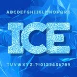 Tipografía del hielo Fuente del alfabeto Letras y números Fondo azul geométrico abstracto stock de ilustración