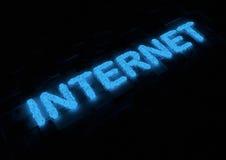 Tipografía del Internet que brilla intensamente Fotografía de archivo