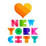 Tipografía del texto del color de Nyc, gráficos de la camiseta Ilustración del vector Imagen de archivo