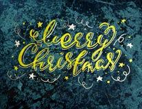 Tipografía del vintage de la Feliz Navidad en un fondo de mármol verde de la textura Foto de archivo libre de regalías