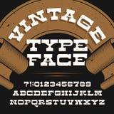 Tipografía del vintage Fuente de vector apenada retra del alfabeto Letras y números del trazo de pie de la losa libre illustration