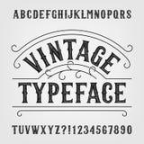 Tipografía del vintage Fuente de vector apenada retra del alfabeto Letras y números dibujados mano stock de ilustración