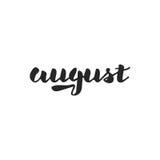 Tipografía dibujada mano agosto Imagenes de archivo