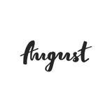 Tipografía dibujada mano agosto Fotos de archivo libres de regalías