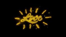 Tipografía feliz del amor del día de tarjeta del día de San Valentín escrita con los fuegos artificiales de oro de las chispas de ilustración del vector