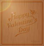 Tipografía feliz del día de San Valentín en diseño de madera tallado de la textura del fondo en estilo del vintage libre illustration
