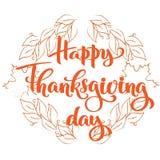 Tipografía feliz del otoño del día de la acción de gracias Letras exhaustas de la mano para la invitación de la cena de la acción stock de ilustración