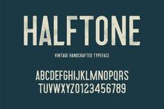Tipografía handcrafted vintage con el efecto de semitono Cartas de Grunge Ilustración del vector libre illustration