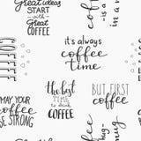 Tipografía inconsútil del modelo del café de la cita Fotos de archivo libres de regalías