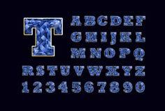 Tipografía latina jeweled chispeante del alfabeto del ABC del topacio del vector estilizado de la suposición azul de la piedra pr Ilustración del Vector