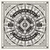 Tipografía náutica de Vintage British East la India Company un color libre illustration