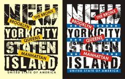 01 tipografía Nueva York, ilustración del vector