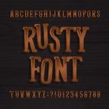 Tipografía oxidada dibujada mano del vintage Fuente retra del alfabeto Mecanografíe las letras y los números en un fondo de mader ilustración del vector