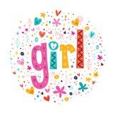 Tipografía retra de la muchacha de la palabra que pone letras al texto decorativo Imagenes de archivo