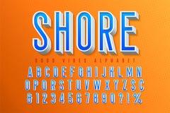 Tipografía retra de los buenos ambientes fuente de la exhibición 3d, cartel ilustración del vector