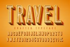 Tipografía retra de los buenos ambientes fuente de la exhibición 3d, cartel stock de ilustración