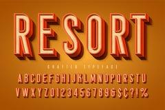 Tipografía retra de los buenos ambientes fuente de la exhibición 3d, tipografía del cartel libre illustration