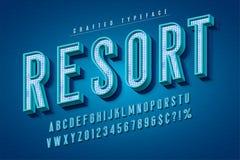 Tipografía retra de los buenos ambientes fuente de la exhibición 3d, tipografía del cartel stock de ilustración