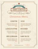 Tipografía retra y ornamento del menú de la comida de la Navidad Fotos de archivo libres de regalías