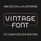 Tipografía sucia del vintage Fuente retra del alfabeto Mecanografíe las letras y los números ilustración del vector