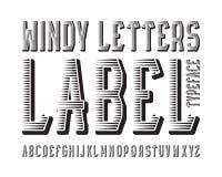 Tipograf?a de Windy Letters Label Fuente que pone en contraste negra Alfabeto ingl?s aislado ilustración del vector