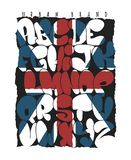 Tipografia britânica do alfabeto da bolha dos grafittis da bandeira, gráficos do t-shirt, vetores ilustração stock