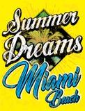 Tipografia d'annata di sport di Miami Beach; grafico della maglietta; vettore Fotografie Stock