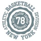 Tipografia da bola da cesta, t-shirt New York ilustração do vetor