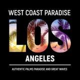 Tipografia da cópia da camisa do projeto gráfico t da praia de Califórnia Los Angeles verão da ilustração da cidade do LA da ress imagem de stock