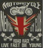 Tipografia da motocicleta; motor do vintage; gráficos do t-shirt; vetores Imagem de Stock Royalty Free