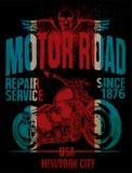 Tipografia da motocicleta; motor do vintage; gráficos do t-shirt; vetores Fotografia de Stock