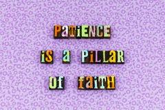Tipografia da piedade da virtude da fé da coluna da paciência foto de stock