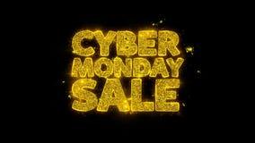 A tipografia da venda de segunda-feira do Cyber escrita com partículas douradas acende fogos de artifício