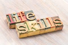 Tipografia das habilidades da vida no tipo de madeira fotos de stock royalty free