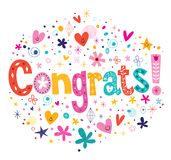 Tipografia de Congrats que rotula o projeto de cartão decorativo do texto Fotos de Stock Royalty Free