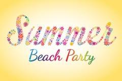 Tipografia del fiore di vettore del partito della spiaggia di estate Immagini Stock Libere da Diritti