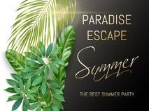 Tipografia del partito di estate con le foglie esotiche Fotografie Stock