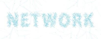 Tipografia dell'iscrizione di parola della rete con la linea ed i punti sottili su fondo bianco illustrazione di stock