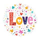 Tipografia di amore di parola retro che segna testo con lettere decorativo Fotografia Stock