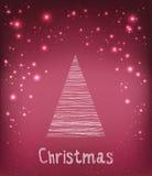 Tipografia di Buon Natale sul fondo di festa con l'albero di abete e la luce, stelle, fiocchi di neve Disegnato a mano Illustrazi Fotografie Stock Libere da Diritti