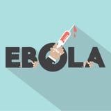 Tipografia di ebola con il simbolo della siringa Fotografie Stock Libere da Diritti