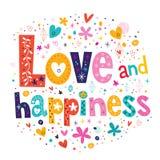 Tipografia di felicità e di amore che segna la carta con lettere di testo decorativa Immagine Stock